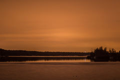 Winter lake after sunset ice water Royalty Free Stock Images