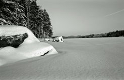Winter lake - vintage Royalty Free Stock Photography
