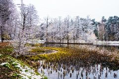 Winter lake. The lake in witer is beautiful Stock Photo