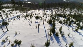Winter Land Rise Aerial 4k stock video footage