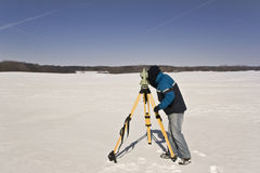 Winter land surveying Stock Images