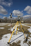 Winter land surveying Stock Photos
