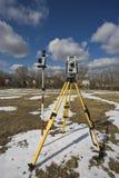 Winter land surveying Stock Photos