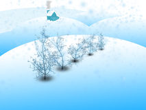 A winter landscape. With some trees and a house Stock Image