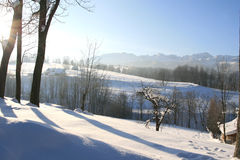 Winter landscape. With the panorama of polish tatra mountains in the background Royalty Free Stock Image