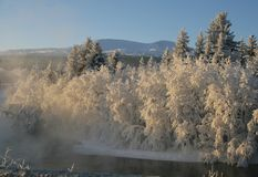 Winter landscape. Frost on the river in a winter landscape Royalty Free Stock Photos