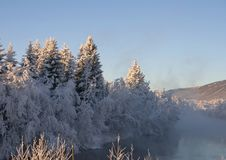 Winter landscape. Frost on the river in a winter landscape Stock Photography