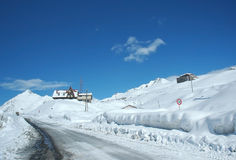 Winter landscape. With road and houses stock photo