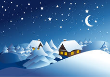 Winter landscape. Winter night landscape with with tree Royalty Free Stock Image