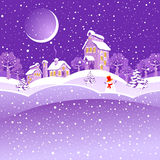 Winter landscape. Winter landscape with moon and snowman Stock Photos