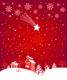 Winter landscape. Winter Christmas landscape with star and red sky Royalty Free Stock Photo