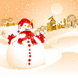 Winter landscape. With snowman and small town Royalty Free Stock Image