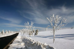 Winter Landscape. The road to Bozi Dar in Krusne hory, Czech Republic Stock Photography