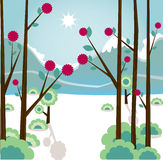 Winter landscape. Mountain winter landscape - vector illustration Stock Photo