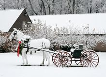 Winter landscape. Snow covered winter landscape with horse and carriage Royalty Free Stock Photography