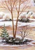 Winter landscape. Winter natural landscape. Handmade, drawing distemper on a birch bark Royalty Free Stock Image