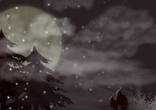 Winter landscape. Full moon winterlandscape (digital art Royalty Free Stock Photo