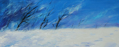 Winter landscape. Hand painted winter landscape with trees in windy day.Picture I have created with acrylic colors Stock Image
