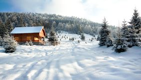 Winter Landscape. House in the forest