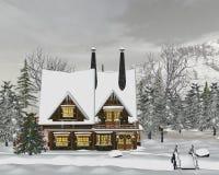 Winter landscape. 3d render of Winter landscape Stock Image