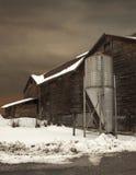 Winter landscape. Scene of an old barn in winter in onondaga county, new york Stock Photo