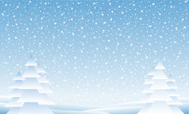 Winter landscape. With falling snow Stock Photography