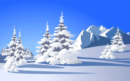 Winter landscape. With snowy trees and mountains Stock Image