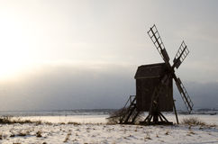 Winter landscape. Windmill in winter landscape in the island Oland in southern Sweden Royalty Free Stock Images