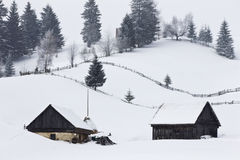 Winter landscape. A picture of traditional romanian architecture in winter Stock Photography