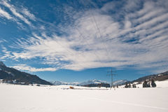 Winter Landscape. With power dupply lines in Allgäu, Bavaria, Germany Royalty Free Stock Images