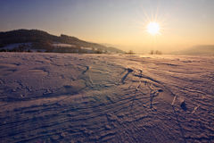 Winter landscape. Beautiful winter landscape, picture taken during sunset royalty free stock photography