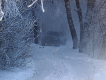 Winter landscape. Car in a foggy winter forest Stock Photography