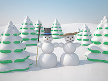 Winter landscape. The winter landscape with trees and snowman Stock Photography