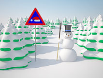 Winter landscape. The winter landscape with trees and snowman Royalty Free Stock Photo