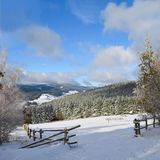 Winter landscape. In snowy mountines Royalty Free Stock Images