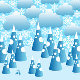 Winter landscape. Surreal blue and white winter landscape with mountains, clouds and reindeer Vector Illustration