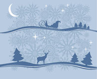 Winter landscape. Silhouettes of trees and reindeer, sleigh on a blue background Stock Photos