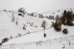 Winter landscape. A picture of traditional romanian architecture in winter Stock Photo