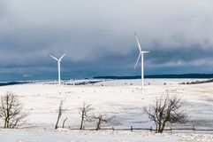 Winter landscape. With two wind power Royalty Free Stock Photography