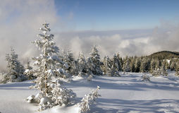 Winter landscape. Winter scene with clouds and sky, in the Fagaras mountains, Romania Stock Photo