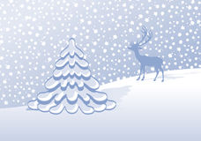 Winter landscape. With fir tree and stag Royalty Free Stock Image