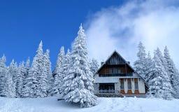 Winter Landscape. Witt mountain cottage of Romanian mountain Royalty Free Stock Photos