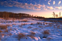 Winter Landscape. Dusk settles on a winter landscape in Elk Island National Park, Alberta, Canada stock image