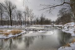 Winter landscape. Scenic view of a creek in winter. Central Indiana. HDR image Stock Photos