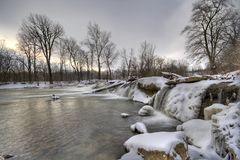 Winter landscape. Scenic view of a creek in winter. Central Indiana. HDR image Royalty Free Stock Images