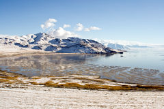 Winter landscape. A winter landscape of Great Salt Lake in Utah stock images