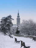 Winter landscape. In the city with the church Royalty Free Stock Photography