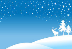 Winter landscape. With trees and reindeer in snowfall, christmas background Stock Image
