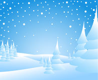 Winter landscape. Snow-covered wood and meadow Royalty Free Stock Images