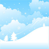 Winter landscape. Vector winter landscape with white snowflakes and trees Stock Image